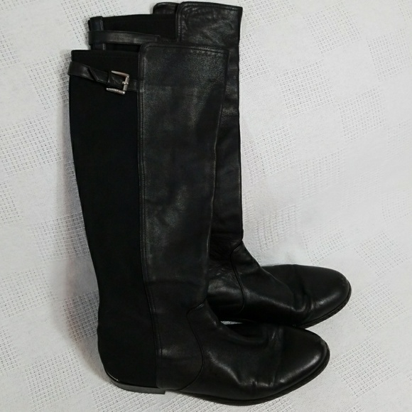 Coach Shoes - Coach Lilac Black Leather Riding Boots 9B